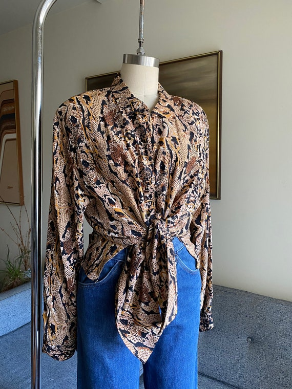 Vintage Silk Abstract Blouse, Leopard Printed Blou