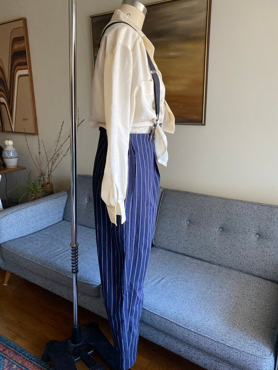 Vintage Striped Pants and Suspenders Set / High W… - image 4