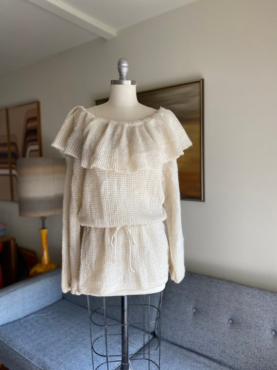 Vintage Ruffle Off The Shoulder Sweater / Puff Sle