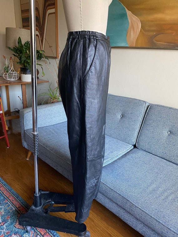 80's Leather Pants / Slouchy / High Waisted Pants… - image 7