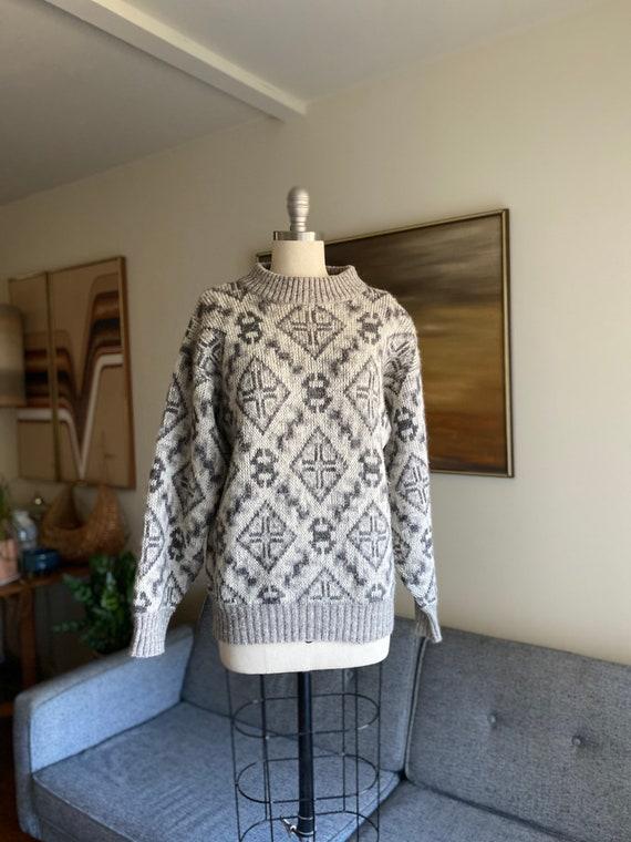 Vintage Wool Sweater / Oversized Sweater / Grey Ab