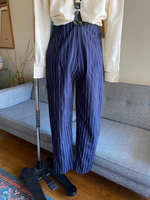 Vintage Striped Pants and Suspenders Set / High W… - image 3