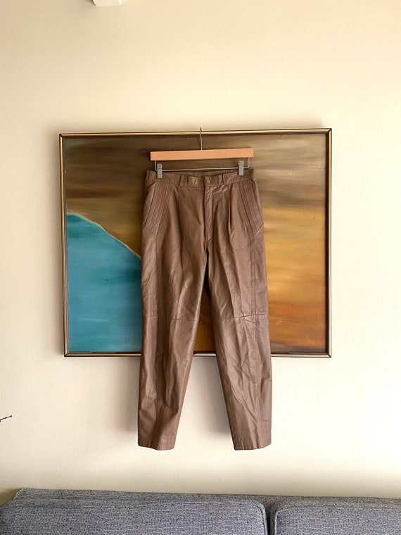 80's Leather Pants / Slouchy / High Waisted Pants