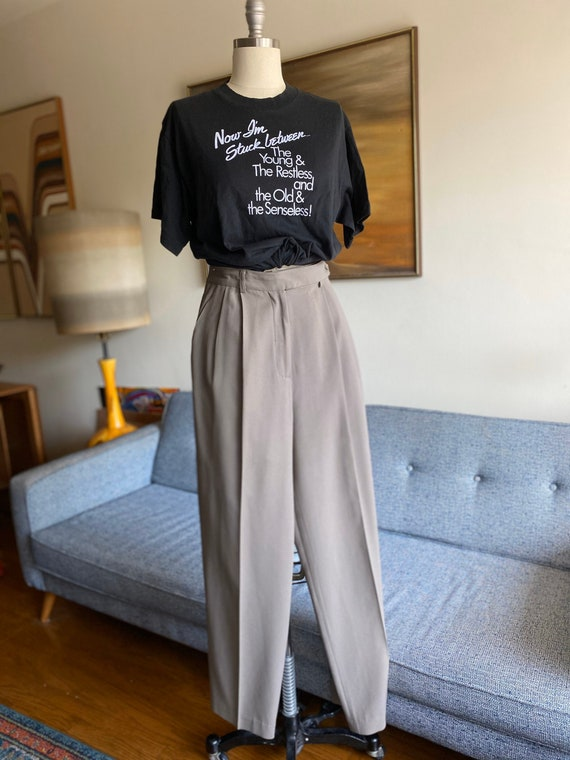 Vintage Taupe Trousers / Crepe Pants / HIgh Waiste