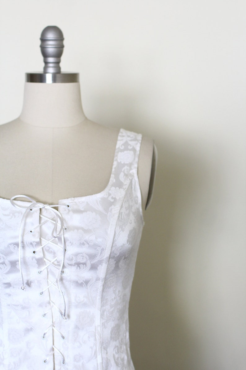 Vintage 90/'s Lace Up Tank  Corset Style  Romantic  Fredericks of Hollywood  XS S