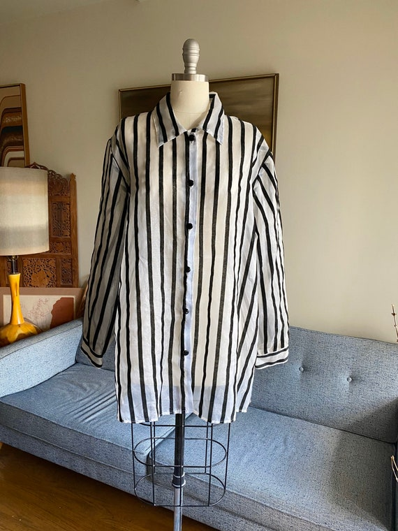 Vintage Sheer Organza Blouse / Oversized Organza T