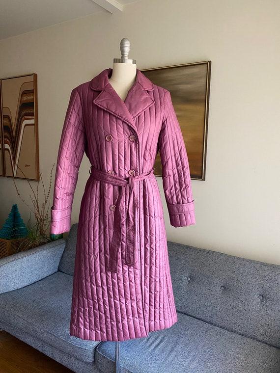 Vintage 80's Belted Puffer Coat, Rain Coat,  S M