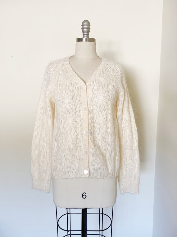 Vintage Ivory Mohair Cardigan / Cropped Sweater /… - image 2