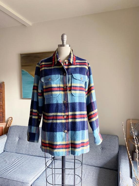 Vintage Wool Shirt Jacket / Plaid Fleece Shirt Jac