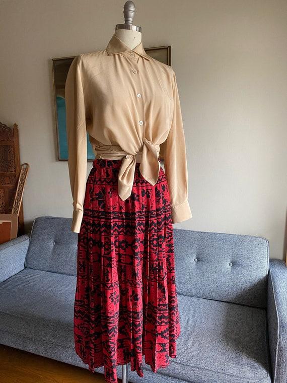 Vintage Red Silk Pleated Skirt, 80's Silk Skirt, H