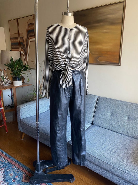 80's Leather Pants / Slouchy / High Waisted Pants… - image 1