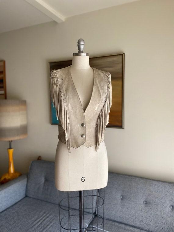 Vintage Suede Fringe Vest / Cropped Vest / S