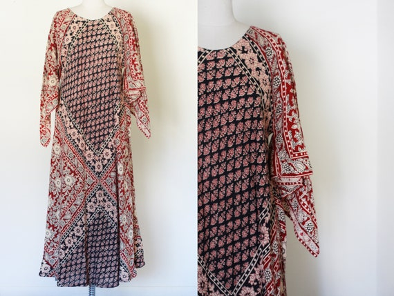 70's Vintage Block Printed Cotton Dress / Angel Sl