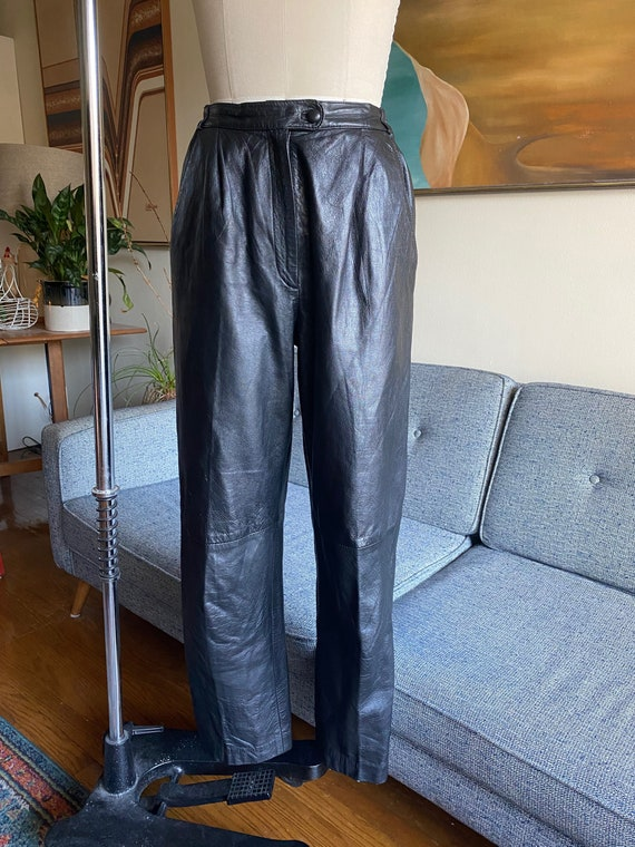80's Leather Pants / Slouchy / High Waisted Pants… - image 4