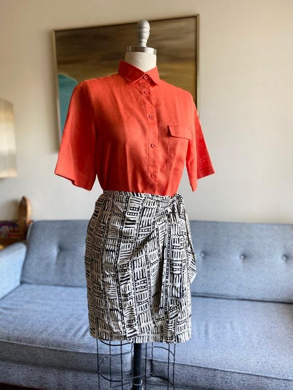 Vintage Orange Linen Blend Shirt / Minimalist Styl