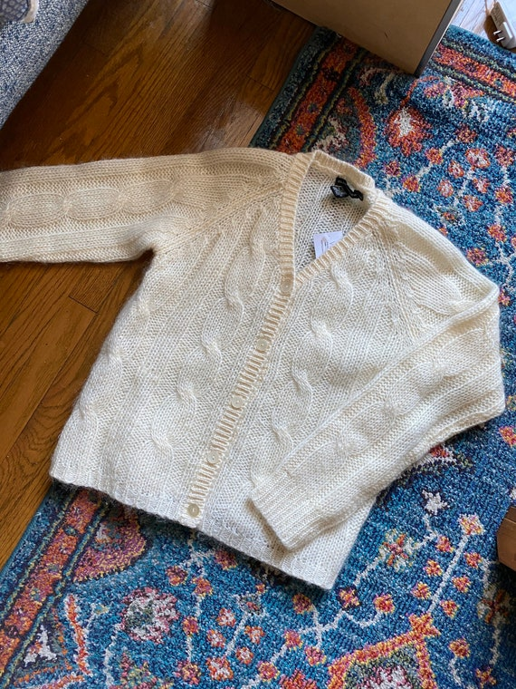 Vintage Ivory Mohair Cardigan / Cropped Sweater /