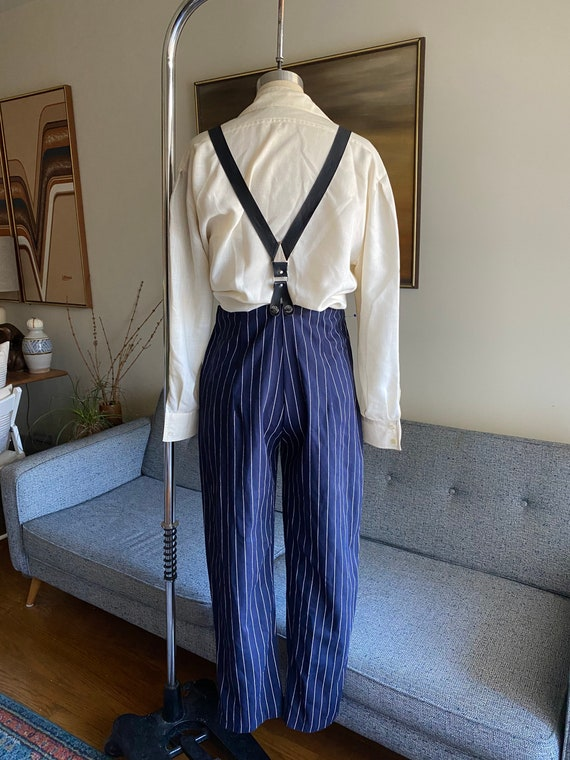 Vintage Striped Pants and Suspenders Set / High W… - image 7