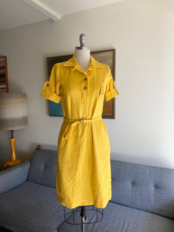 Vintage Yellow Cotton Dress / 60's Shirt Dress / S