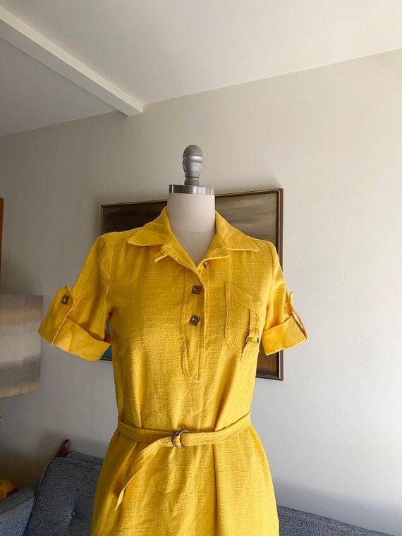 Vintage Yellow Cotton Dress / 60's Shirt Dress / … - image 6