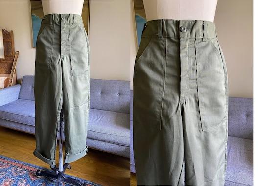 Vintage Army Green Trouser Pants, Olive Green Util