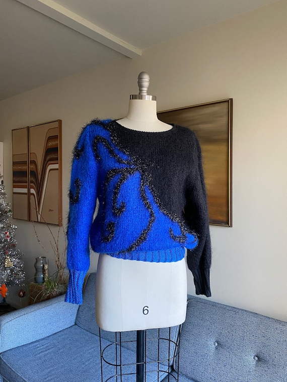 Vintage 80's Mohair Sweater, Two Tone Sweater, Met