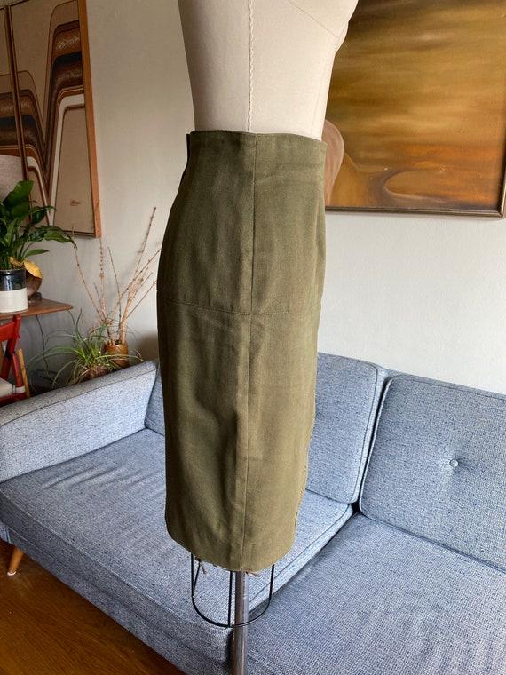 Vintage Mark Eisen Skirt, Olive Denim Skirt, High… - image 4