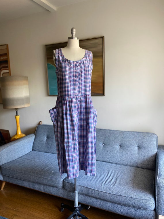 Vintage Cotton Sun Dress / Tank Dress / Midi Cotto