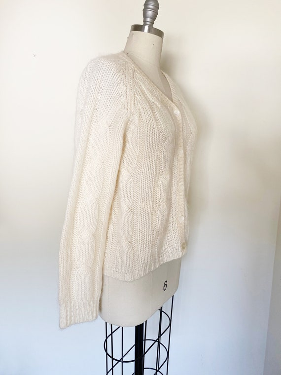 Vintage Ivory Mohair Cardigan / Cropped Sweater /… - image 3