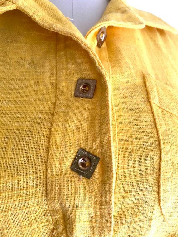 Vintage Yellow Cotton Dress / 60's Shirt Dress / … - image 3