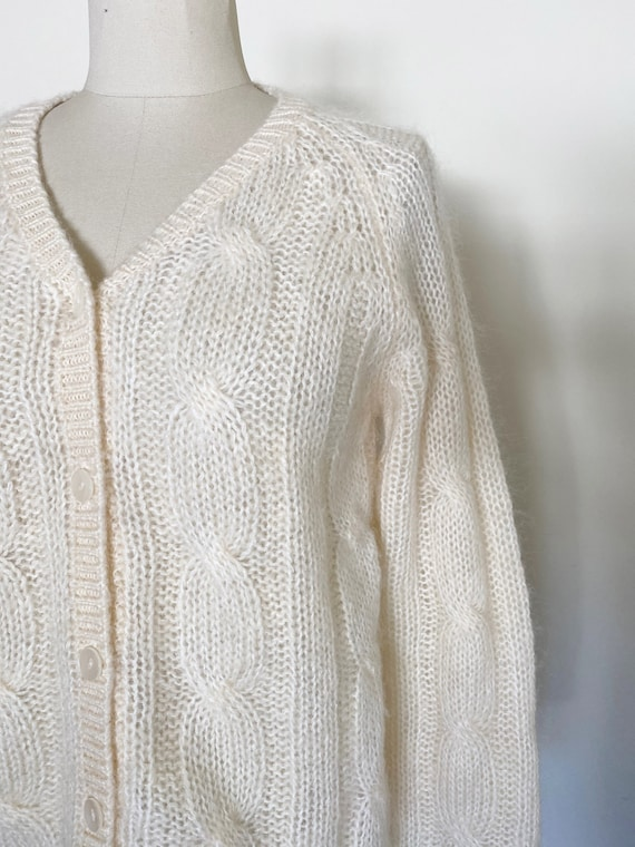 Vintage Ivory Mohair Cardigan / Cropped Sweater /… - image 5