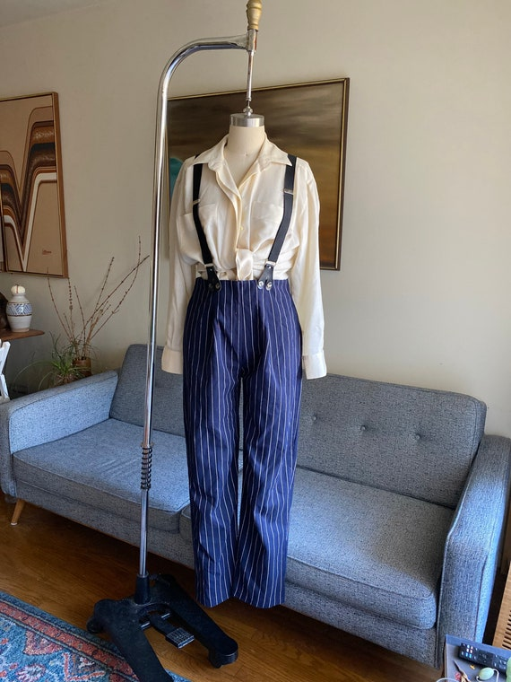 Vintage Striped Pants and Suspenders Set / High W… - image 6