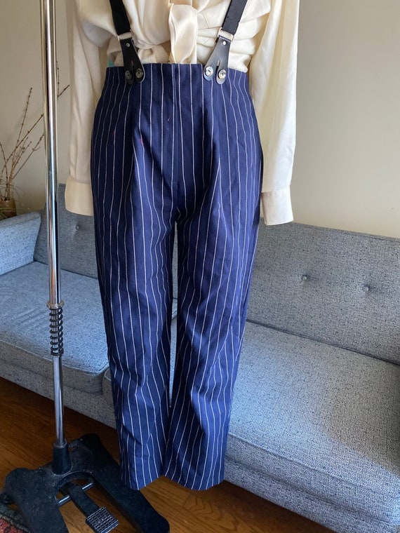 Vintage Striped Pants and Suspenders Set / High W… - image 8
