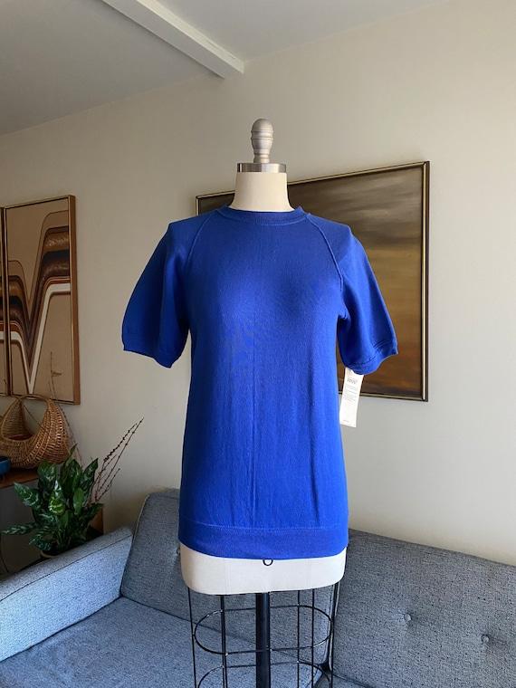 Vintage Short Sleeve Sweatshirt Top, Royal Blue, 8