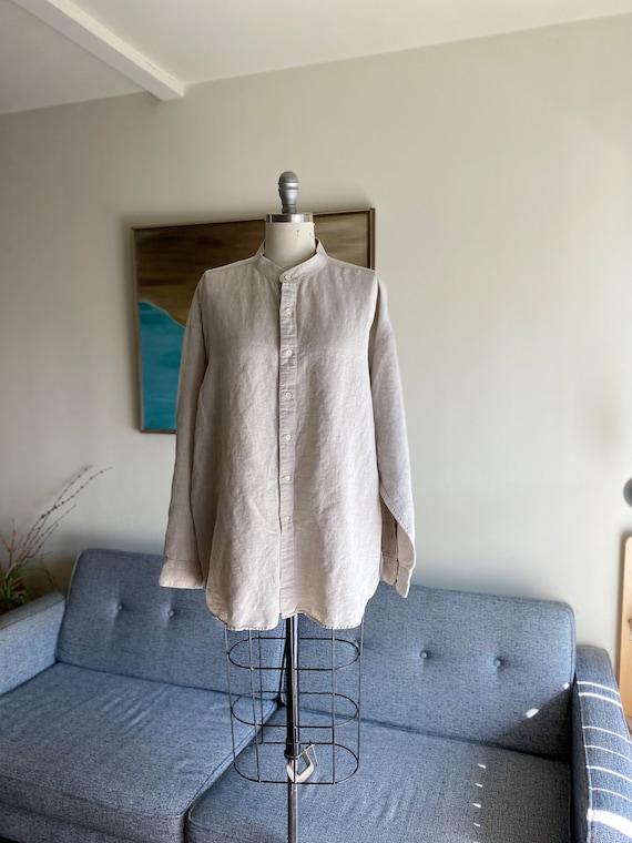 Vintage 90's Mens Linen Shirt / Natural / Loose Co