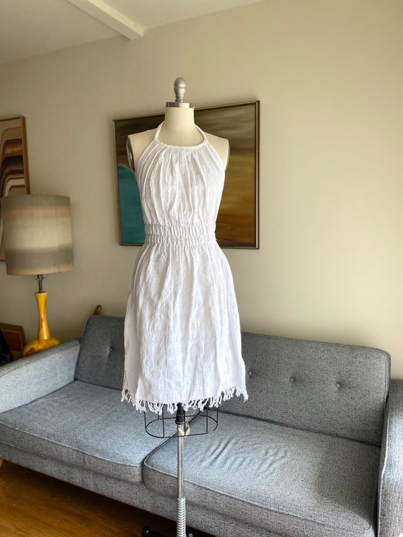 Vintage Cotton Halter Dress / Boho Hippie / Summer