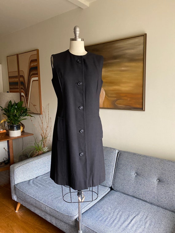 Vintage Minimalist Black Vest Dress, Leslie Fay Or