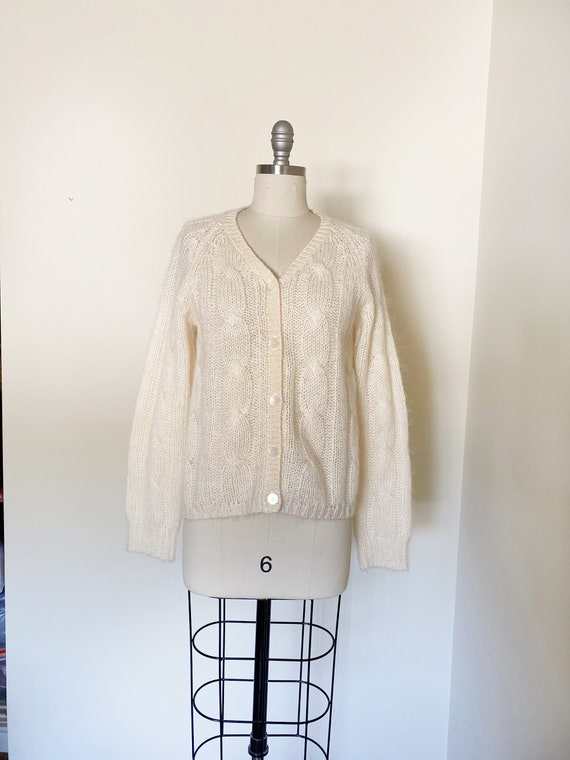 Vintage Ivory Mohair Cardigan / Cropped Sweater /… - image 6