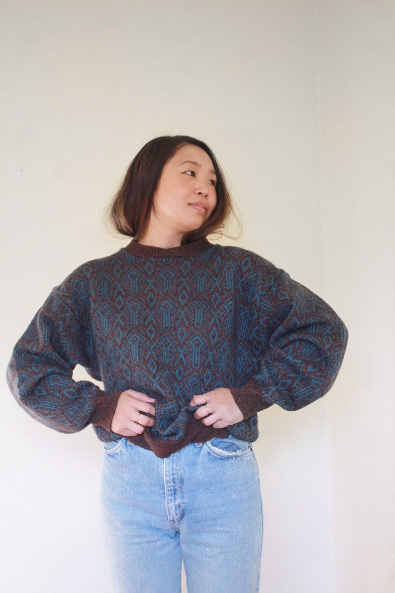 Vintage Abstract Sweater  Slouchy Sweater  M L