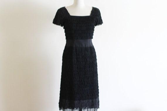 Vintage Black Fringe Dress / 50's Vintage Dress /