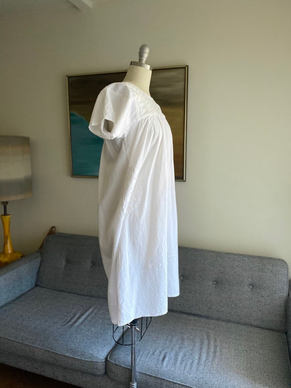 Vintage White Cotton Embroidered Dress / Summer D… - image 7