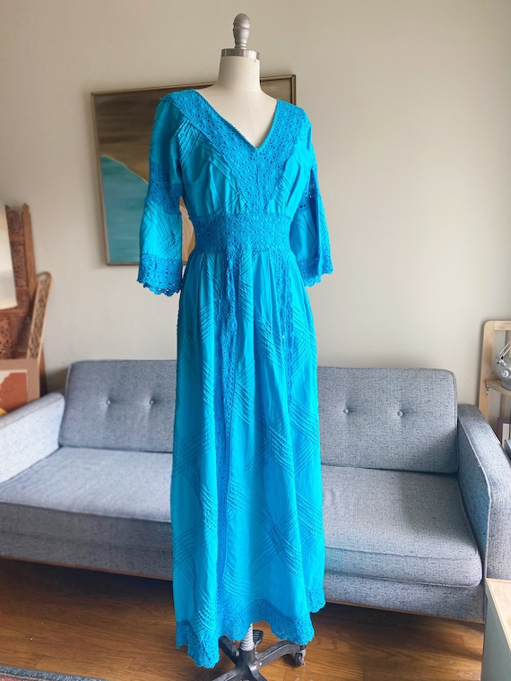 Vintage 70's Cotton Dress / Crochet Dress / Turquo
