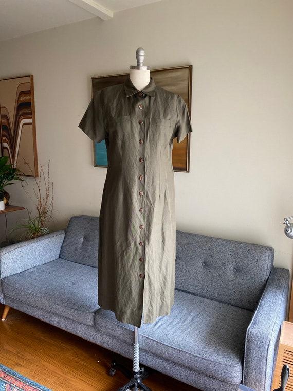 Vintage Minimalist Olive Dress, Market Dress, Loos