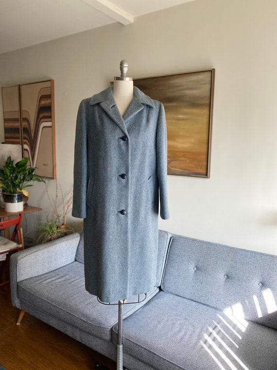 Vintage 70's Harris Tweed Coat, Long Wool Coat, Bl