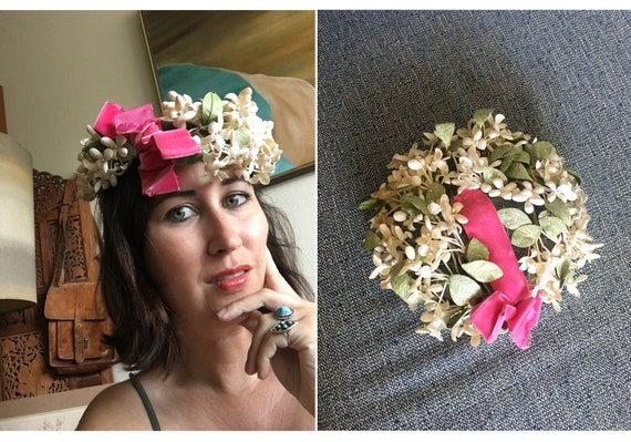 60's floral hat by Dachettes / Lilly Dache / Flora
