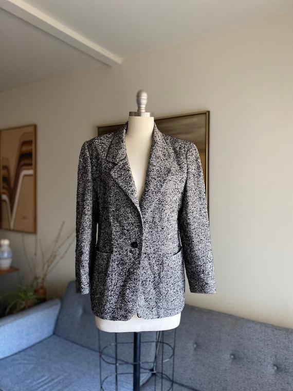 Vintage Tweed Blazer, Salt and Pepper, Petite Blaz