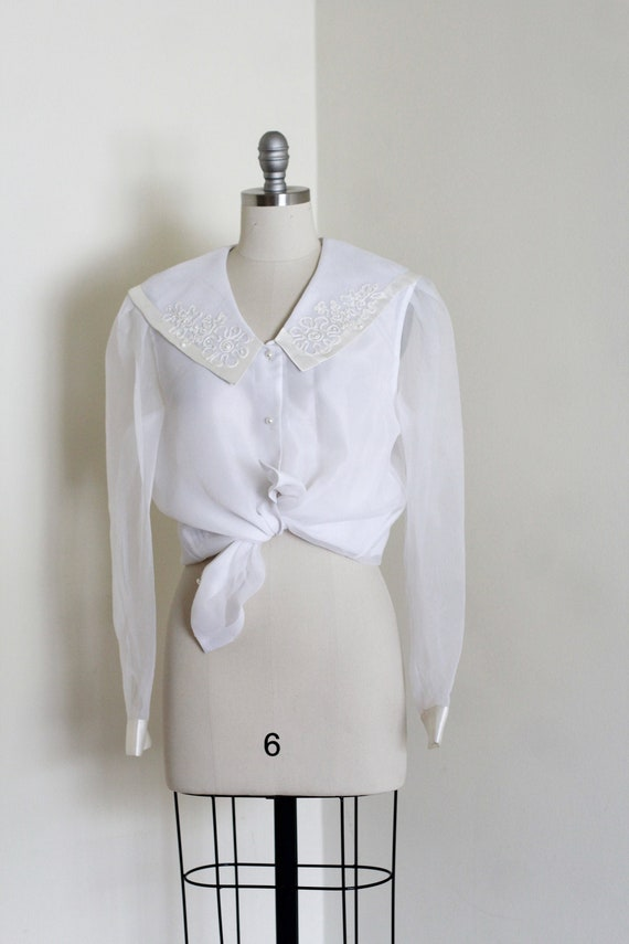 Vintage White Organza Blouse / Sheer White Blouse