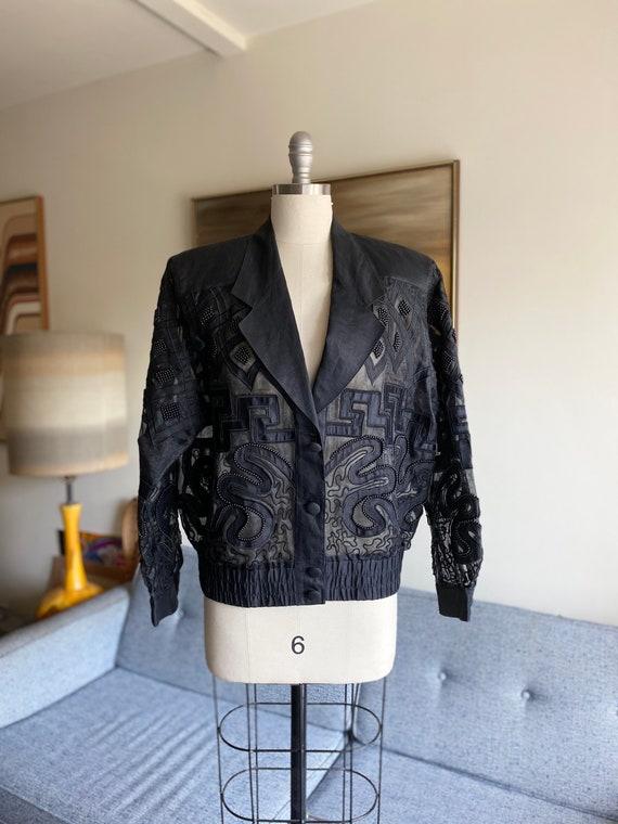 90's Sheer Black Organza Oversized Jacket / Beadin