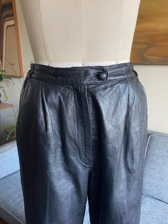 80's Leather Pants / Slouchy / High Waisted Pants… - image 3