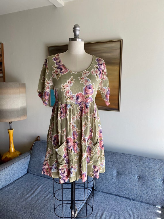90's Floral Betsey Johnson Floral Baby Doll Dress