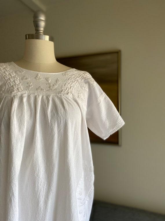 Vintage White Cotton Embroidered Dress / Summer D… - image 8